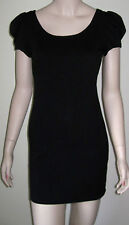 RUBY ROX Little Black Puff Sleeve Stretch Knit Dress Size S Exposed Back Zipper