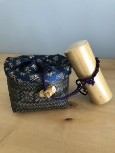 Traditional Japanese Vintage Tea Ceremony Travel Set In Woven Bamboo Basket