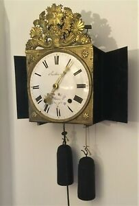 frühe Comtoise Pendeluhr, mit Gewichten, Pendel, Gong, Aufhängebügel - läuft