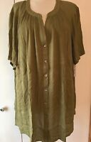 Roamans Angelina Tunic 1X 26W Olive Green Crinkle Crepe Shirt Career Casual NWT