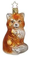 Inge Glas Fox Furry Fox 1-058-16 German Blown Glass Christmas Ornament Gift Box