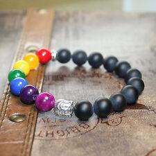 7 Chakra Bracelet Black Agate, Amethyst, Jade, Silver Plated Head, Yoga Bracelet