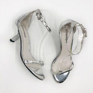 NEW Jeffrey Campbell Entice Ankle Strap Sandal Metallic Silver Kitten Heel Sz 7