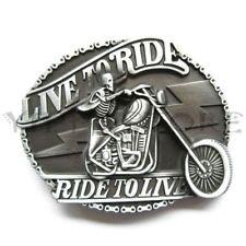 Skull Live To Ride Motorcycle Biker Metal Fashion Belt Buckle