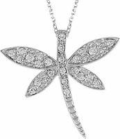 0,17 Gesamtkarat Libelen Halskette mit Diamanten 333er/8K Weißgold Echtschmuck