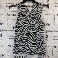 Chicos Womens Shirt Black White Zebra Print Sleeveless Scoop Neck Size 1 or M/8
