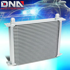 30-ROW 10AN AN-10 SILVER POWDER-COATED ALUMINUM ENGINE TRANSMISSION OIL COOLER