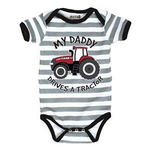 "Case IH ""My Daddy Drives"" Grey & White Stripe Creeper Size: NB, 6M, 12M or 18M"