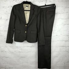J.Crew Suit Womens 2/4 2-pc Gray Gold buttons Wool Lined career