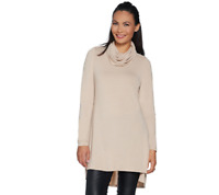 Lisa Rinna Collection Regular Cowl Neck Tunic w/ Seam Detail Heathrd Oatmeal,1X