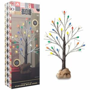 "FAO Schwarz Decorative Christmas Tree w/ LED Vintage Light Bulbs 24"" Height"