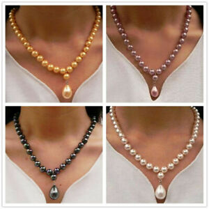 Natural 8mm Round South Sea Shell Pearl 12x16mm Drop Pendant Necklace 18 Inch