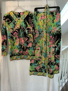 Mr. Dino Tunic and pants set floral Vintage 70s