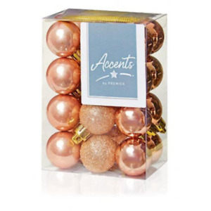 Rose Gold  Collection Christmas Decorations 24x 30mm Rose Gold  finish Baubles