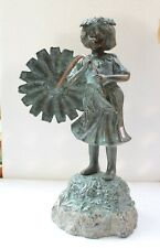Antique Original Fine English Girl Bronze Fountain Copper Fitting Statue NH4098