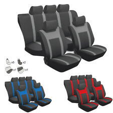 Black + Gray Car Auto Seat Cover Full Set Front Rear Seat Cushion Mat Protector
