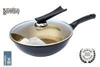 Ceramic Marble coated Cast Aluminium Non Stick Wok 30cm Flat Bottom Frying Pan