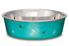Loving Pets Bella Dog Bowl Dragonfly Stainless Steel Washable Turquoise Small