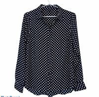 Portmans Womens Black with White Spots Long Sleeve Button Up Blouse Size 8