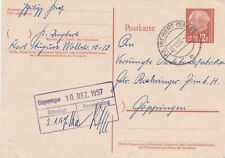 Saarland 1957 St Ingbert-Goppingen Postcard 12f VGC special cancel