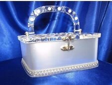 VINTAGE FLORIDA HANDBAG METALLIC WHITE LUCITE PURSE ROWS RHINESTONES SILVER BEAD
