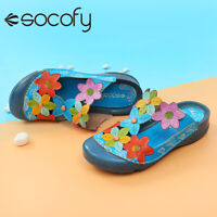 SOCOFY Women Leather Splicing Flowers Pattern Shoes Adjustable Loop Sandals