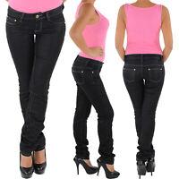 Damen Hüft Stretch Jeans Hose Gerader Schnitt Straight Leg Gerades Bein 8063