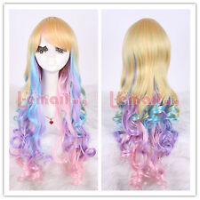USA Ship! 70cm Long Rainbow Mixed Colors Curly Wave Cosplay Wig ML183B