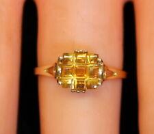 NICE! Vintage Estate 10K Gold UniqueHand Cut 1 Ct 9-Cut Citrine Stone Ring s6.75