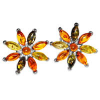 8.25g Authentic Baltic Amber 925 Sterling Silver Earrings Jewelry N-A5266