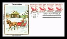 DR JIM STAMPS US SLEIGH TRANSPORTATION COIL COLORANO SILK FDC COVER UNSEALED