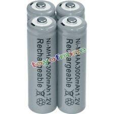 4x AA 2A Rechargeable Battery 3000mAh 1.2V  Bulk Cell Nickel Hydride NI-MH Gray