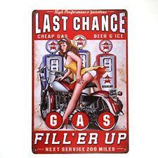 Gas Oil tin metal sign Retro Hot Rod Motorcycle Man cave Garage Station Decor
