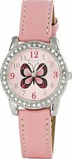 Tikkers Girls' Pink Butterfly Dial Watch-Stones Set Case CUTE SUMMER Party Gifts