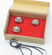 3PC Legend of Zelda Majora's Mask logo Ring Set+ wood box