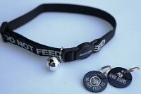 DO NOT FEED REFLECTIVE SAFETY CAT COLLAR BLACK & PERSONALISED TAG & BOWL ICON