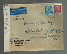 1941 Ratzeburg Germany to Istanbul Turkey Sara Cover Emanuel Weinberg Censored