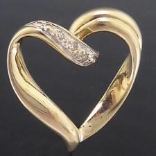 Romantic Modern Slider Solid 9k Yellow GOLD 3 DIAMOND HEART PENDANT Bee