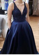 Envious Couture Prom Karishma Creations Navy Blue Dress Sz 8 w/ Pockets EUC Sexy