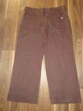WOMENS LADIES GORGEOUS CHOCOLATE BROWN 100% LINEN TROUSERS SIZE 10