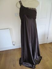 BROWN PURE SILK BEADED LONG EVENING GOWN DRESS SIZE 14 BY IGNITE
