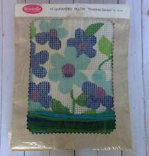 Vtg 60's Needlepoint Quickpoint Pillow Kit Daisies 14� Flower Power Wonderart