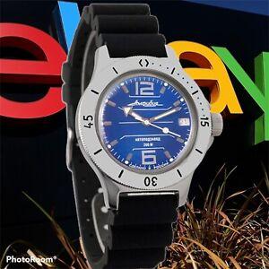 New Mens Automatic Watch Vostok Amphibian 120696 Blue Dial Diving 200 m (20ATM)
