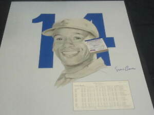 Ernie Banks Autographed Chicago Cubs Baseball 18x24 B&W Lithograph PSA COA