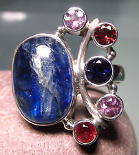 925 silver blue kyanite, cut amethyst/garnet/iolite ring UK O½-¾/US 7.75.