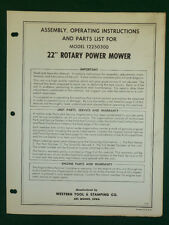 """Western Tool 22"""" Rotary Mower Assembly, Operating, Parts Manual 12250300"""