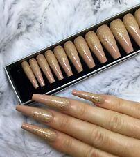 Nude Gold Glitter False Fake Extra Long Ballerina Nails Set
