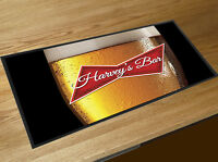 Personalised with any name beer glass red label bar runner beer mat
