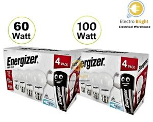 4 PACK ENERGIZER LED GLS BULBS 60-100W BC B22 WARM WHITE DAYLIGHT 2021 STOCK👀