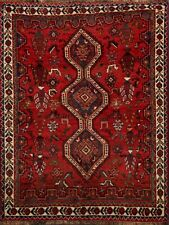 Vintage Geometric Abadeh Tribal Red Area Rug Hand-Knotted Nomad-Weave Wool 4x5